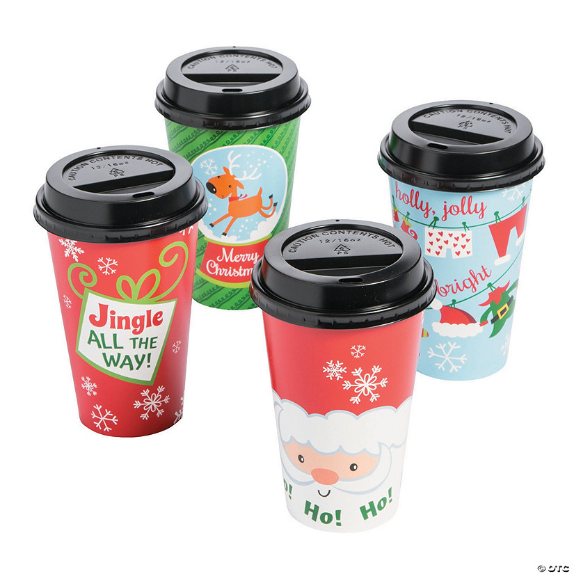 Whimsical Christmas Insulated Coffee Cups With Lids