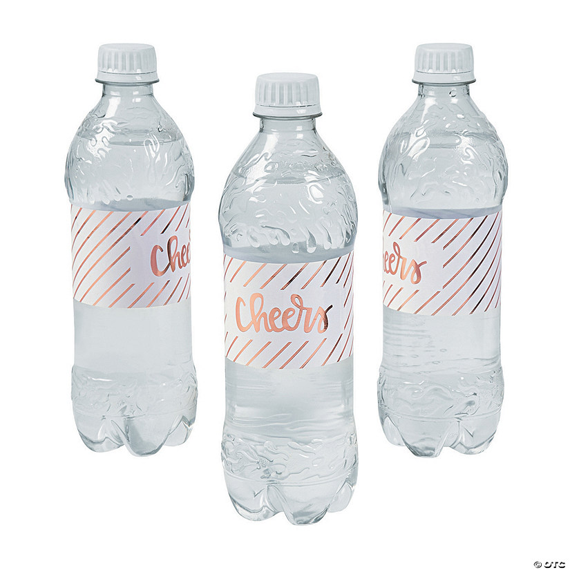 Rose Gold Cheers Water Bottle Labels