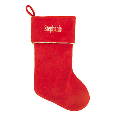 Personalized Red Christmas Stocking With White Print Oriental Trading