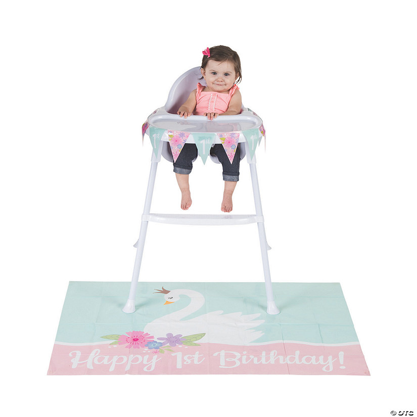 Sweet Swan 1st Birthday Party High Chair Decor Kit