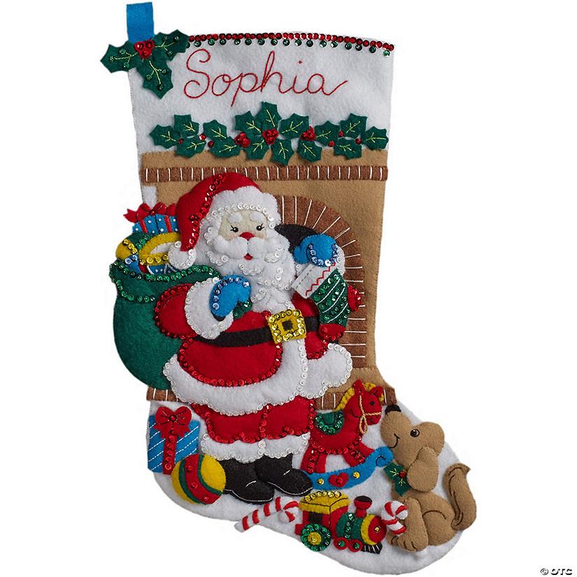 Bucilla Christmas Stocking Kits.Bucilla Felt Stocking Applique Kit Santa S Visit