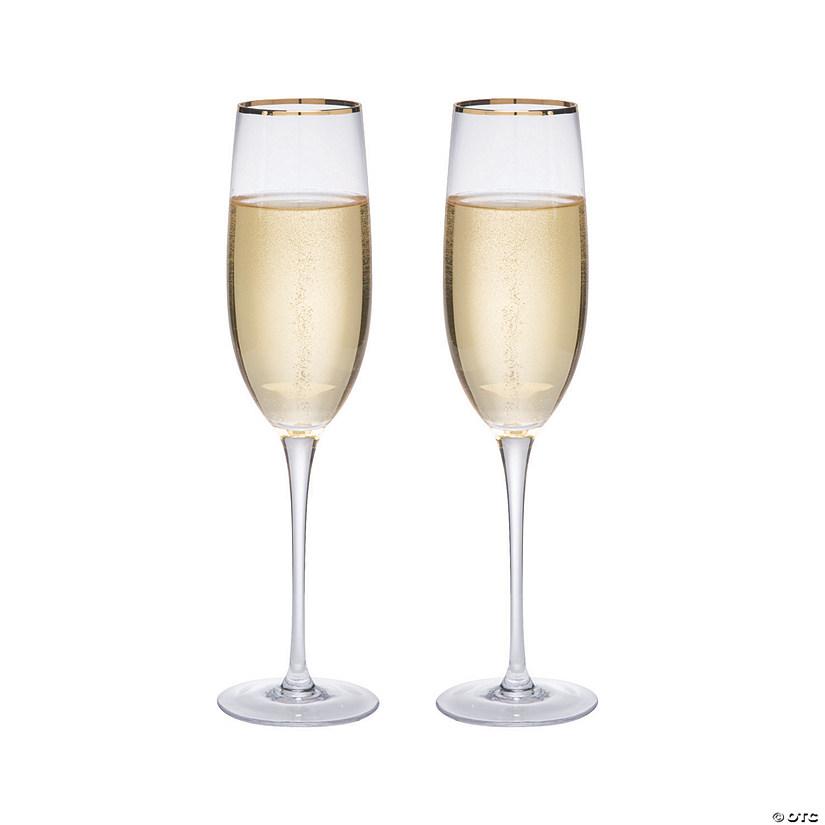 Gold Trim Champagne Flute Set | Oriental Trading