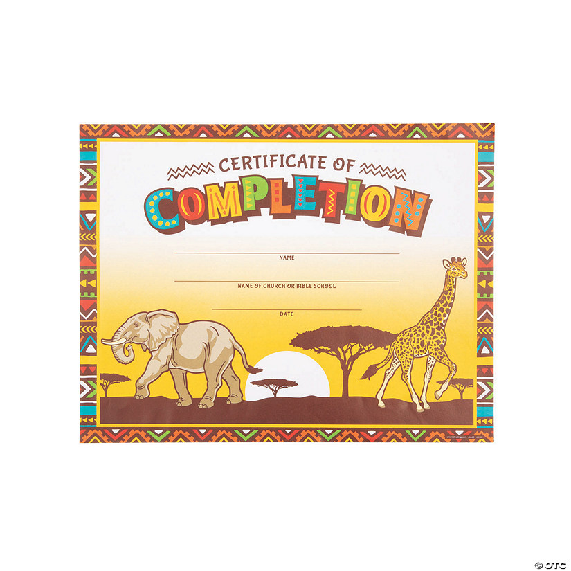 image about Vbs Certificate Printable known as African Safari VBS Certificates of Completion - Discontinued