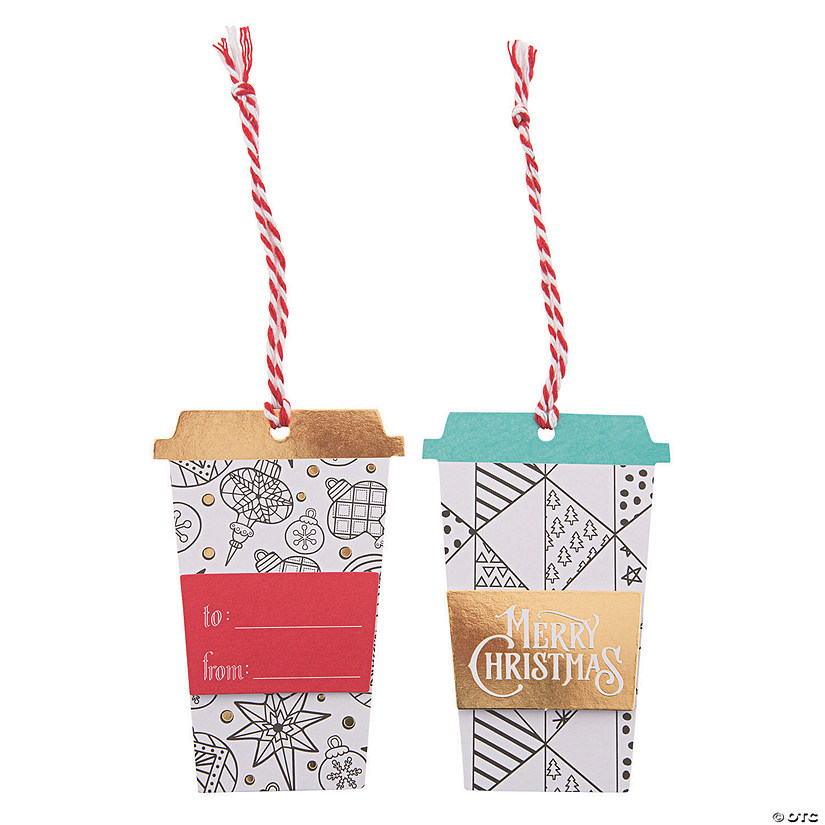 Christmas Gift Tags.Color Your Own Christmas Latte Gift Tags