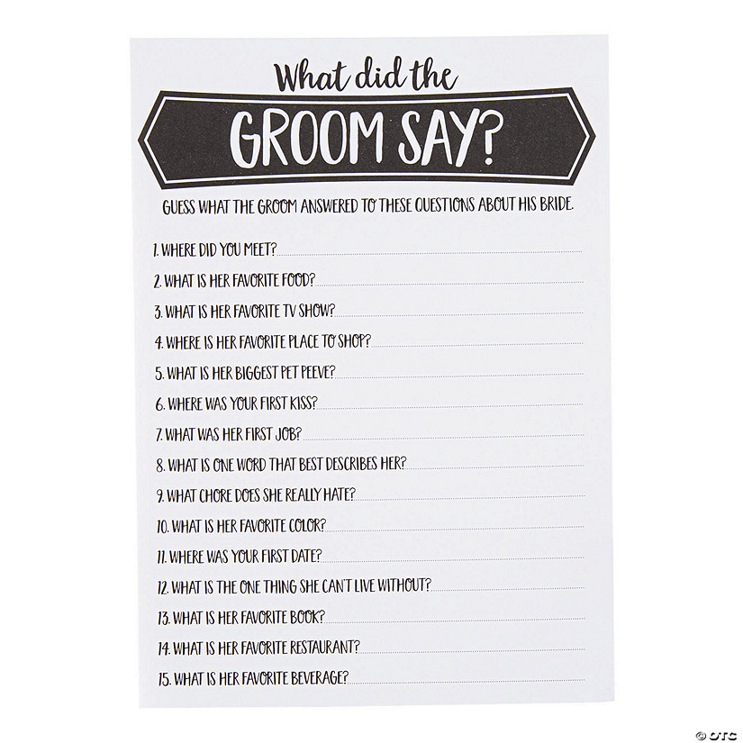 graphic relating to Free Printable Bridal Shower Games How Well Do You Know the Bride referred to as What Did the Groom Say Bridal Shower Activity