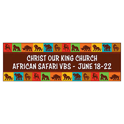 Personalized Large African Safari VBS Vinyl Banner