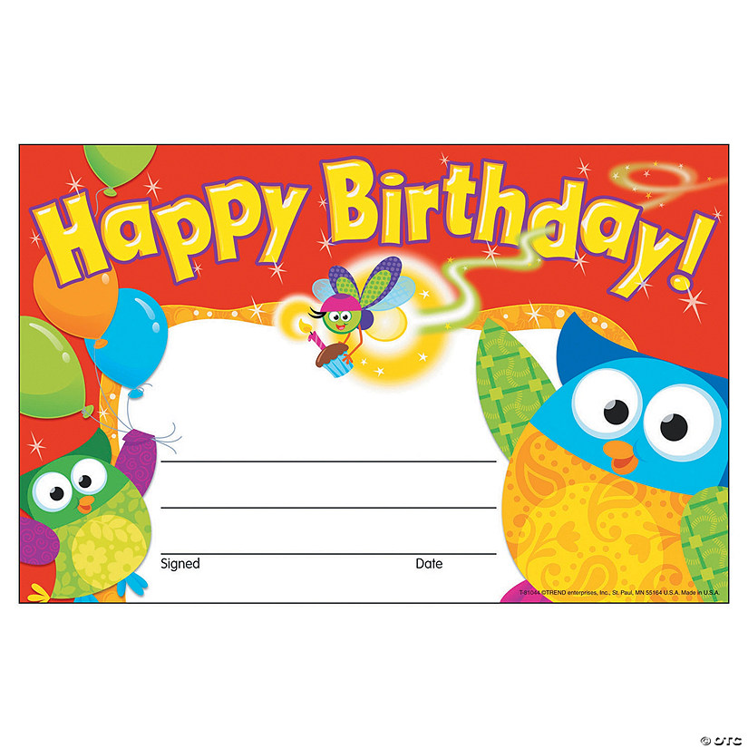 happy birthday owl stars award certificate 30 per pack 12 packs