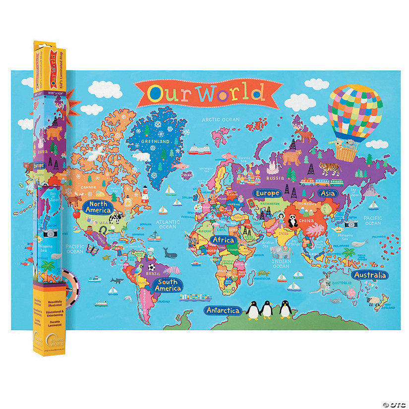 (2 Ea) World Map For Kids