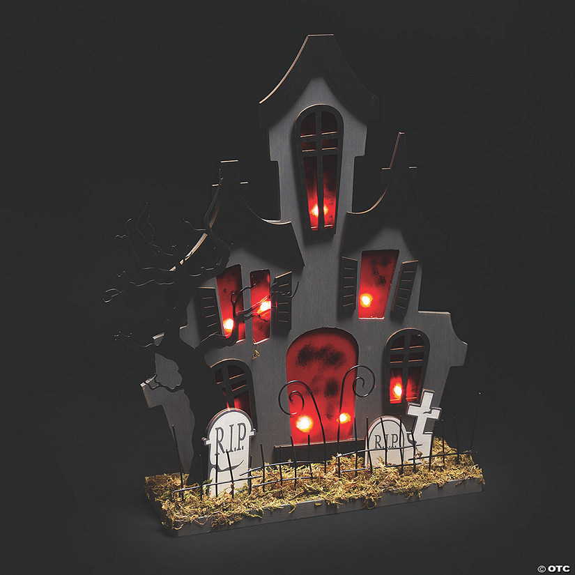 Gothic Light Up Haunted House With Moss Halloween Decoration