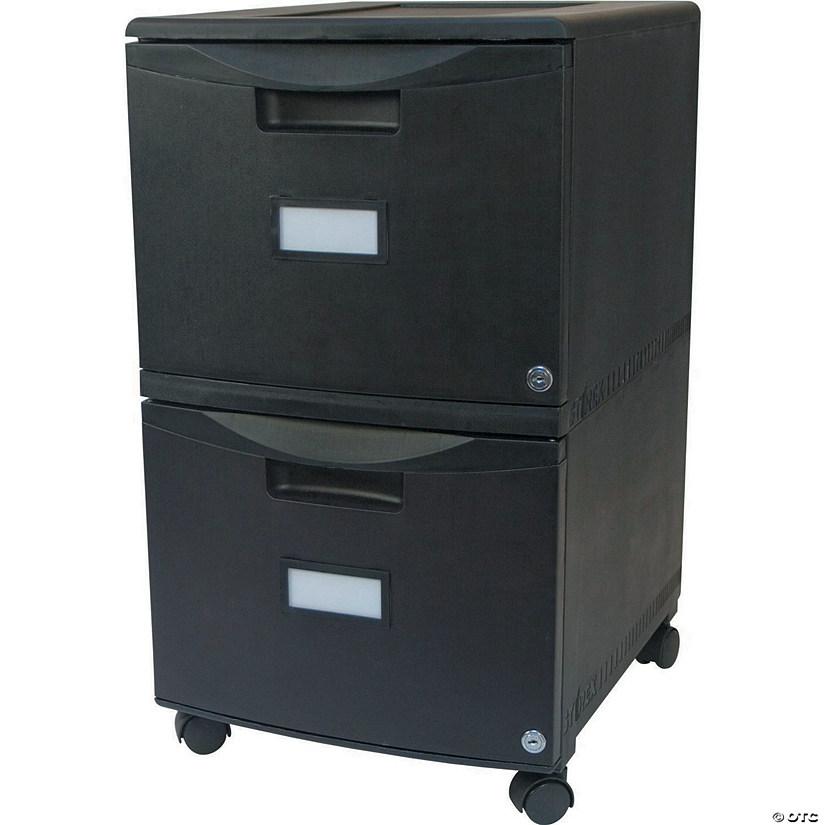 Storex 2 Drawer Mobile File Cabinet With Lock Legalletter Black