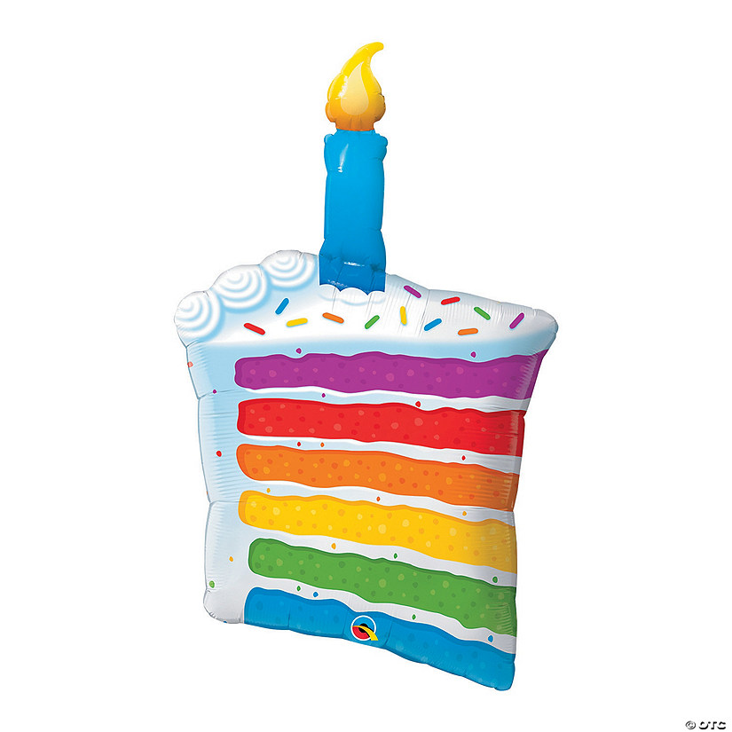Rainbow Cake Candle Mylar Balloon