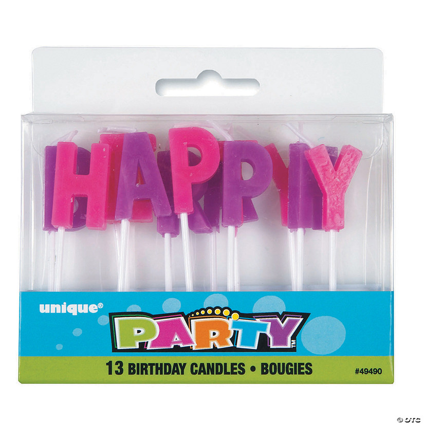 Pink Purple Happy Birthday Letter Candles