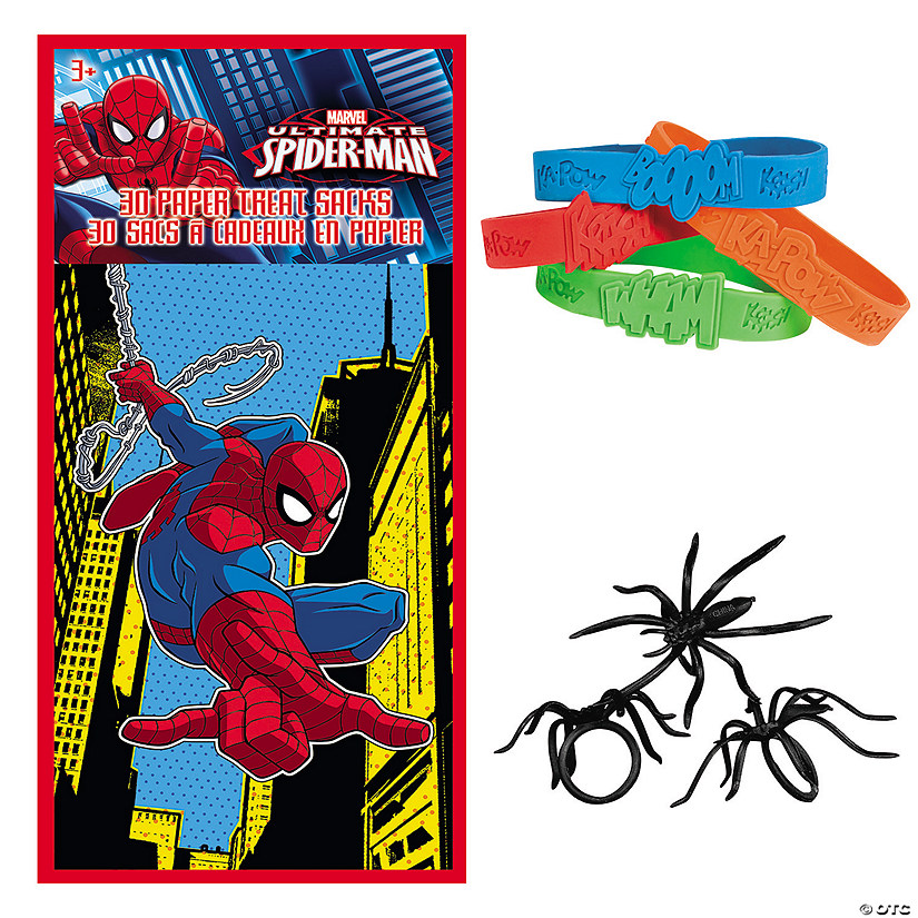 Ultimate Spider-Man™ Valentine Treat Bags with Superhero Sayings Bracelets    Spider Rings a9837c075b926