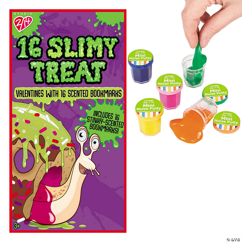 Slimy Treat Valentines With Scented Bookmarks Mini Noise Putty
