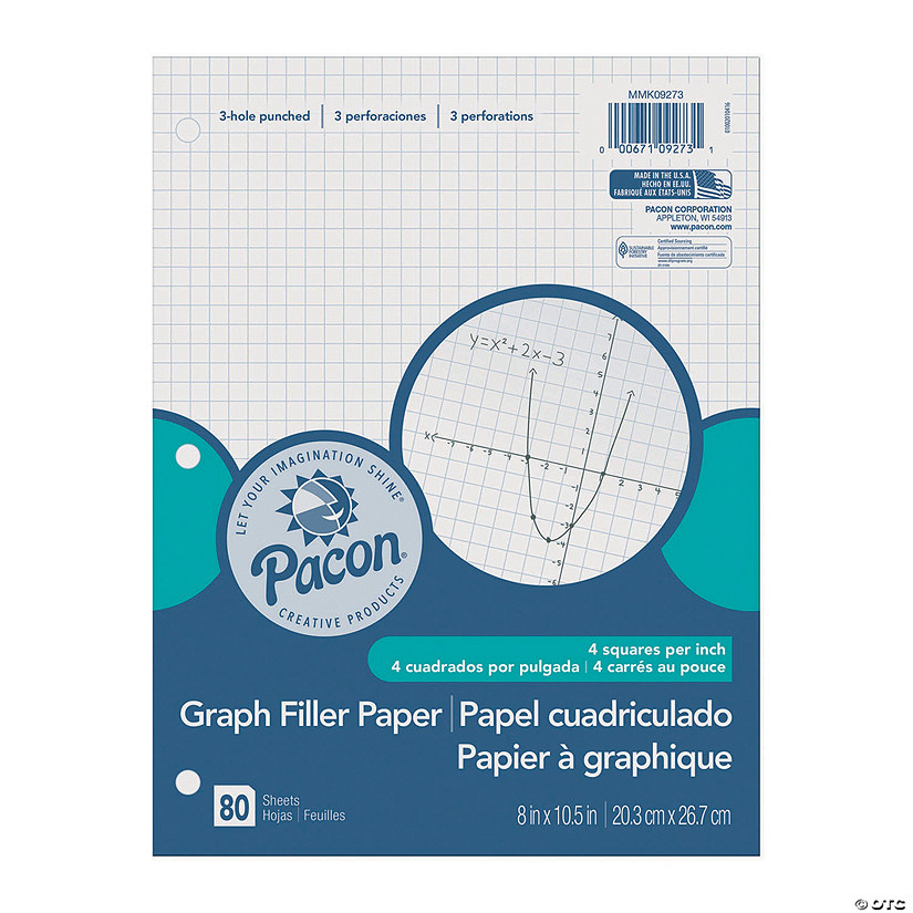 graphing paper white 3 hole punched 1 4 quadrille ruled 8 x