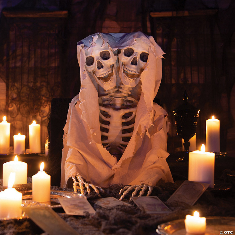 Two Headed Life Size Posable Skeleton Halloween Decoration