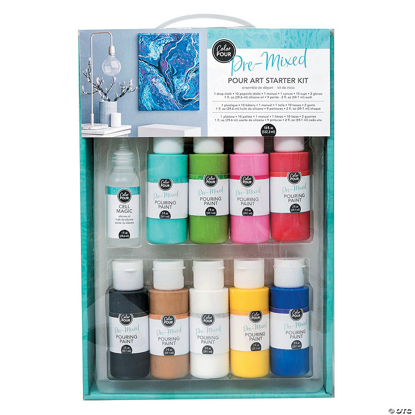 American Crafts Pre Mixed Color Pour Art Starter Kit
