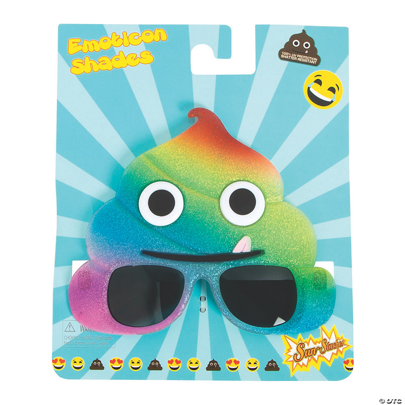 Sun-Staches® Rainbow Poop Emoji Sunglasses