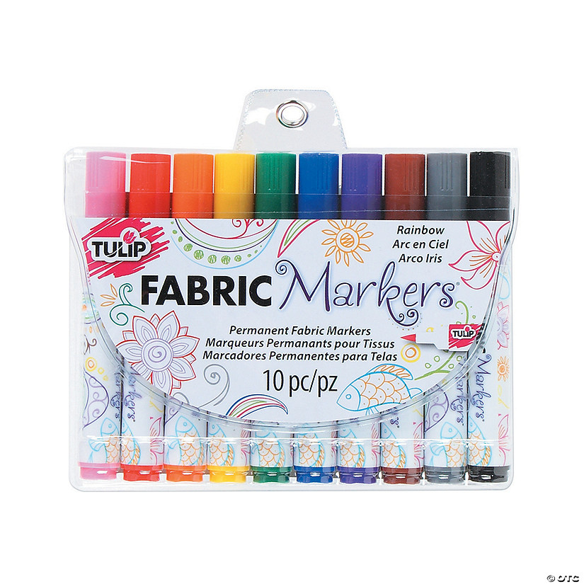 10-Color Rainbow Colors Tulip® Brush Tip Fabric Markers