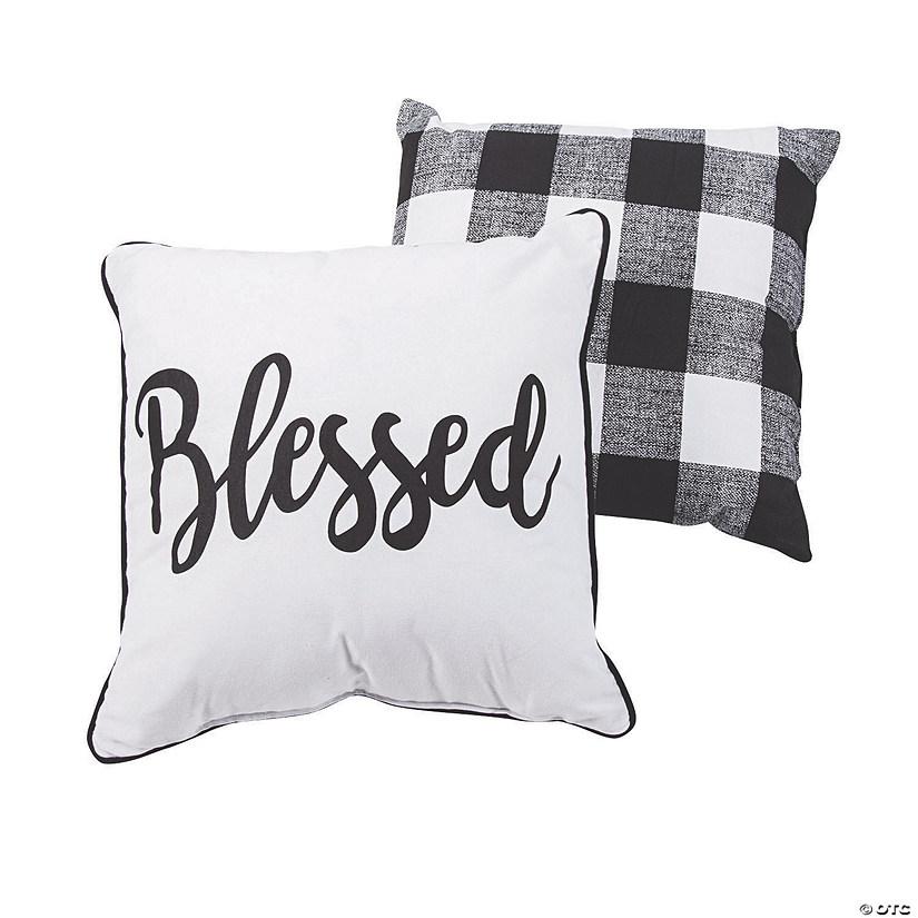 Pillow And Throw Set.Blessed Black White Plaid Pillow Set
