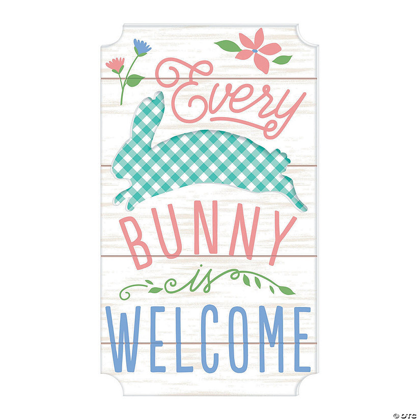 Bunny Welcome Wall Sign Oriental Trading
