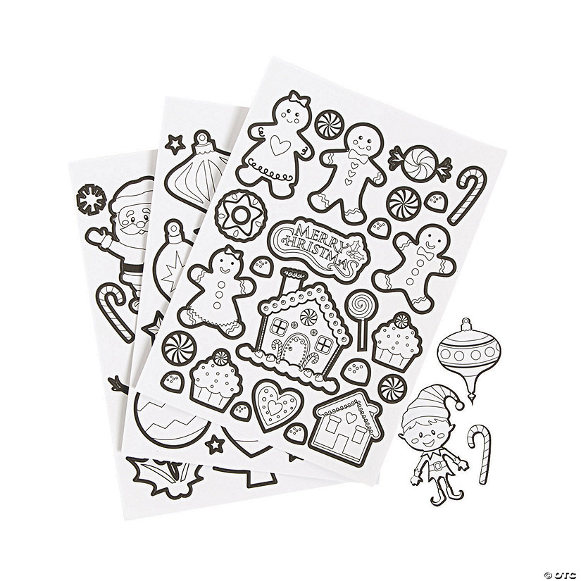 Color Your Own Christmas Sticker Sheets | Oriental Trading