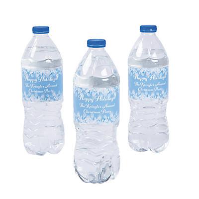Personalized Winter Snowflake Water Bottle Labels Oriental