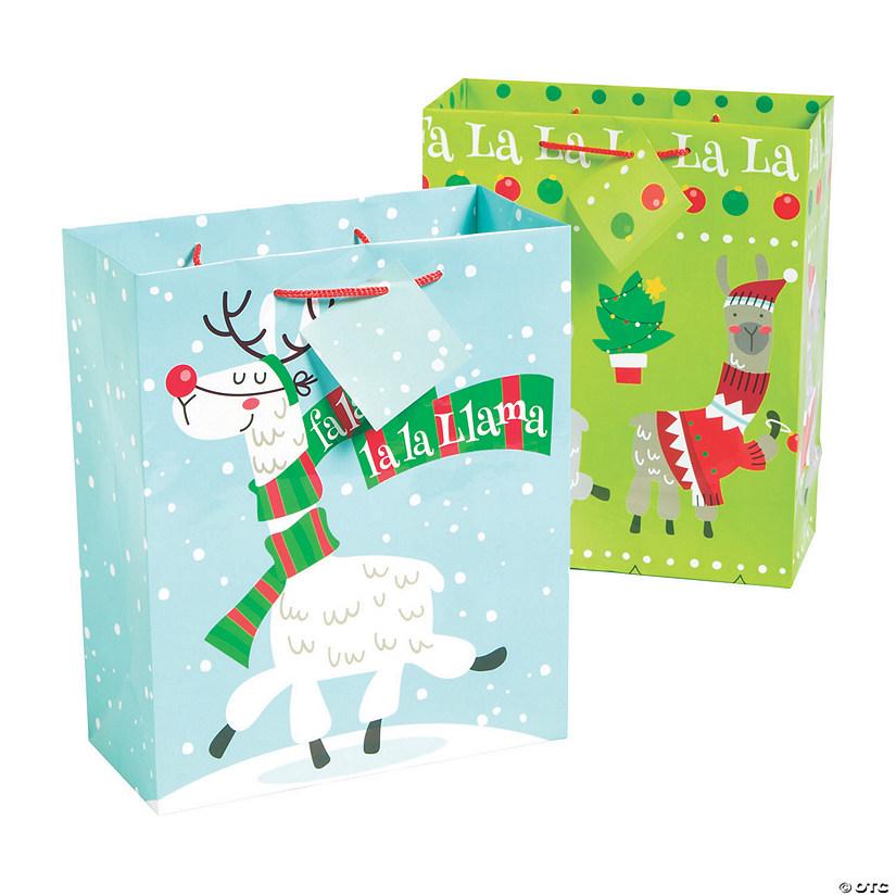 Christmas Llama.Medium Christmas Llama Gift Bags