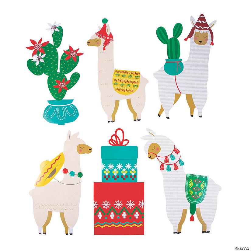 Llama Christmas.Christmas Cactus Llama Cutouts