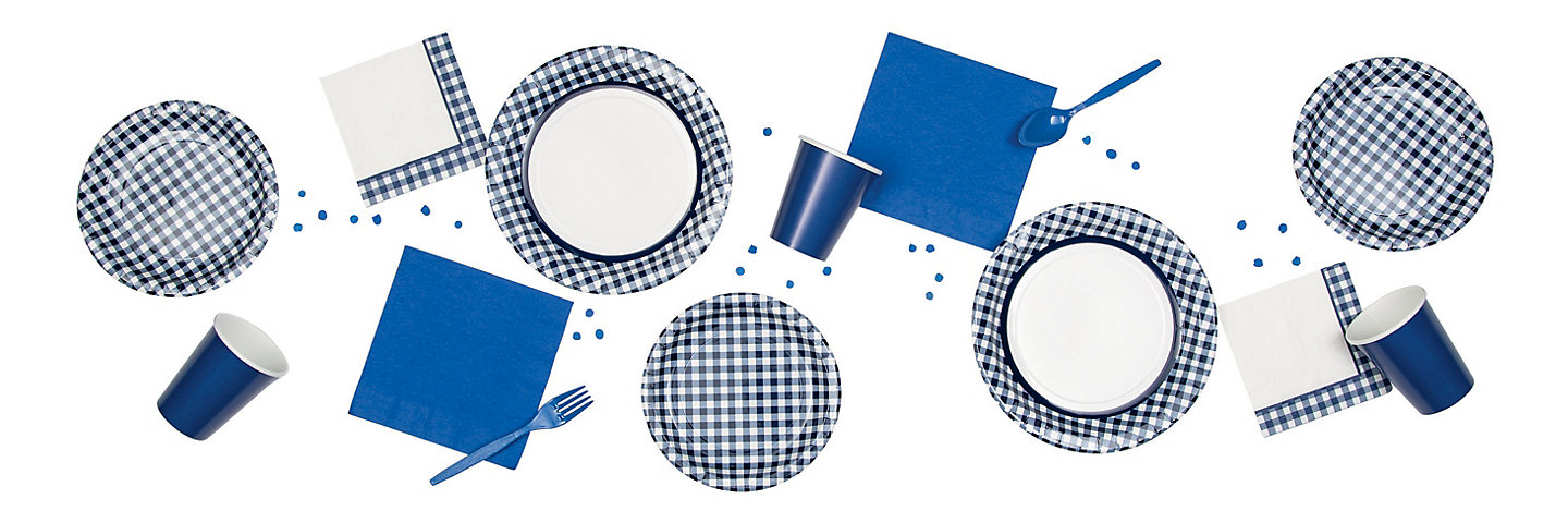 Navy Gingham Party Supplies