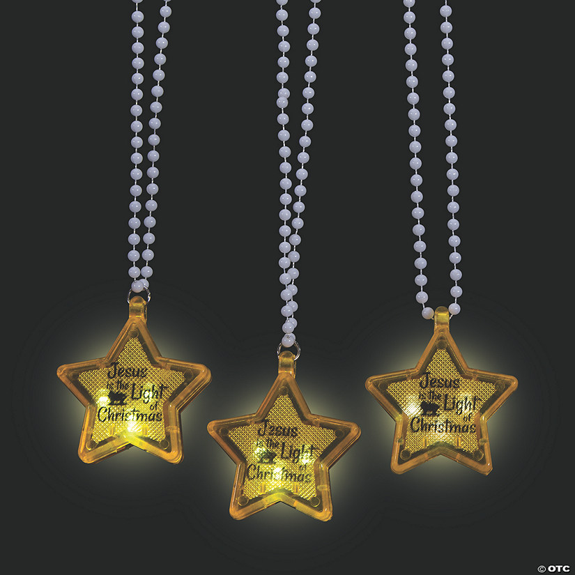 Light Of Christmas.Light Up Jesus The Light Of Christmas Star Beaded Necklaces