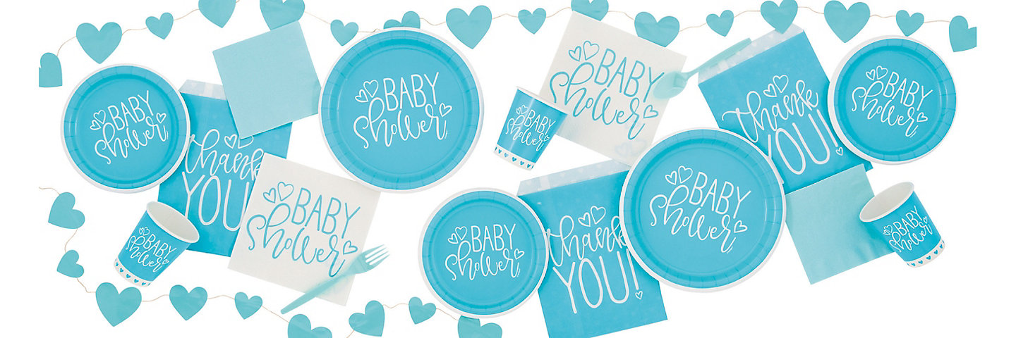 Blue Heart Baby Shower Party Supplies