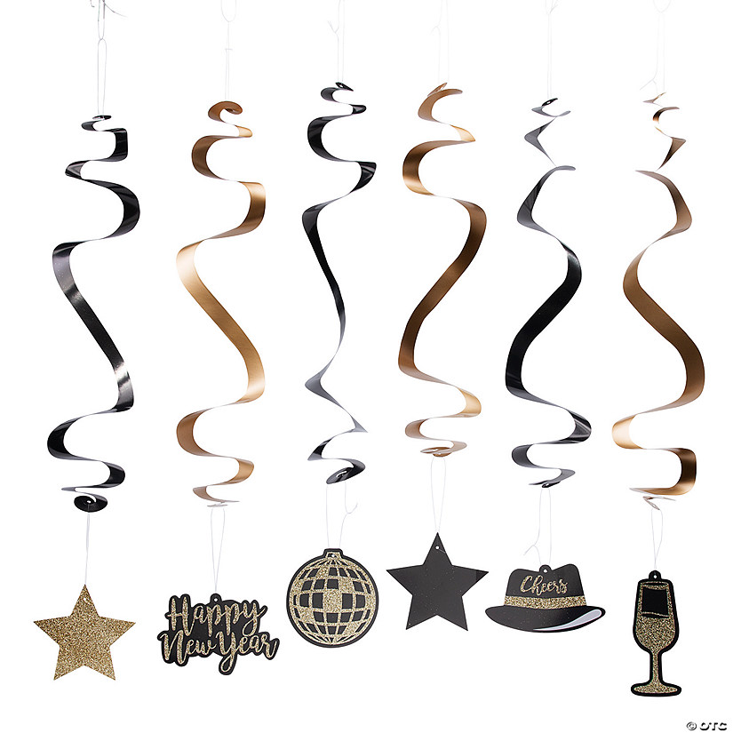 New Year's Eve Hanging Swirl Decorations - 12 Pc ...