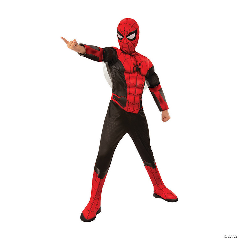 Boys Deluxe Spider Man Far From Home Red Black Costume