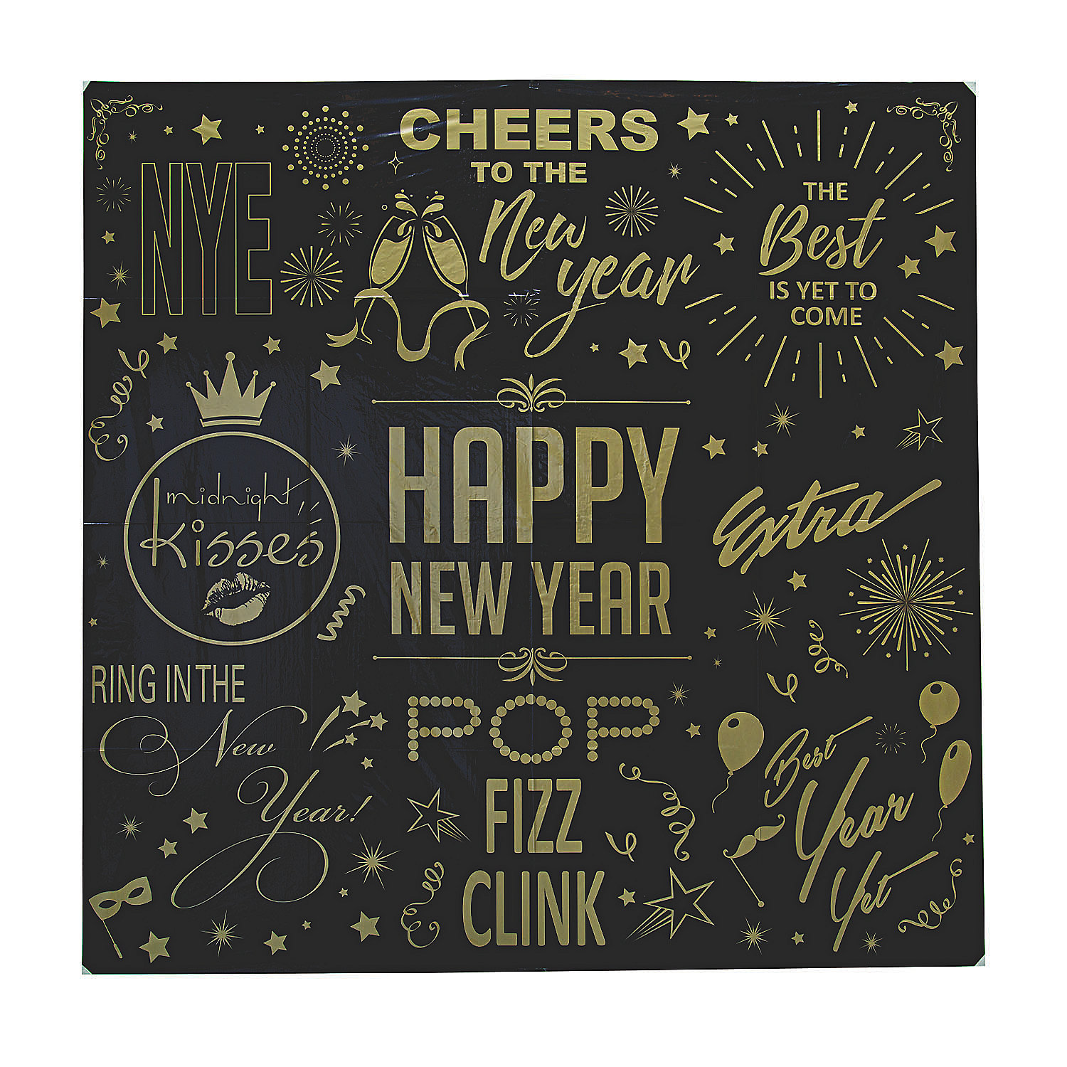 New Year'S Eve Black & Gold Backdrop - Party Decor - 1 ...