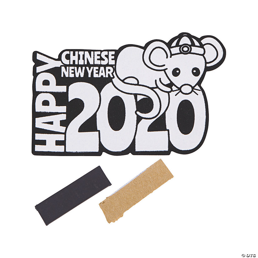 Color Your Own 2020 Chinese New Year Fuzzy Rat Magnets ...