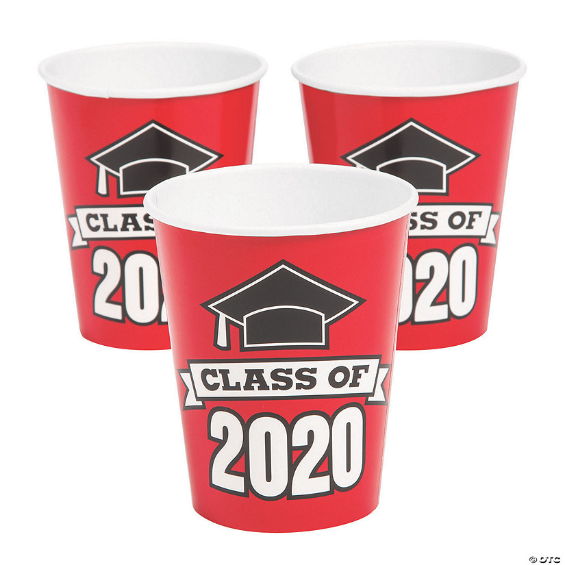 Oriental Trading Graduation 2020.Red Class Of 2020 Paper Cups