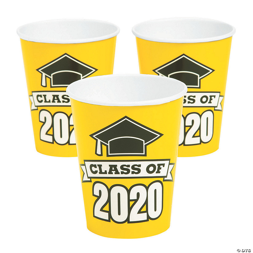 Oriental Trading Graduation 2020.Yellow Class Of 2020 Paper Cups