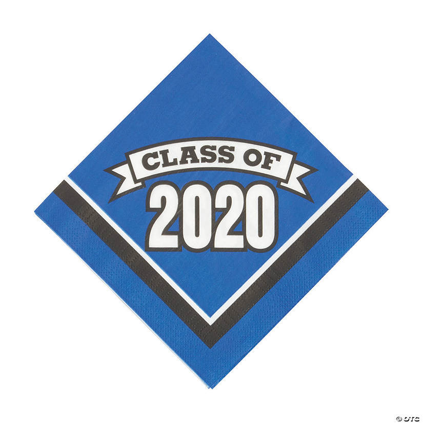 Oriental Trading Graduation 2020.Blue Class Of 2020 Luncheon Napkins
