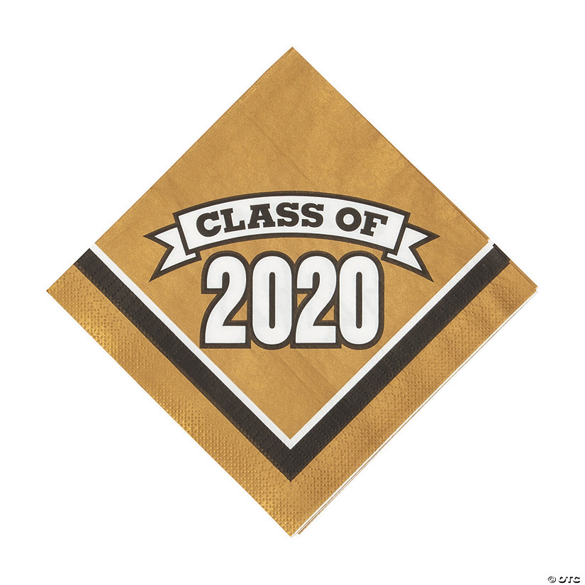Oriental Trading Graduation 2020.Gold Class Of 2020 Luncheon Napkins