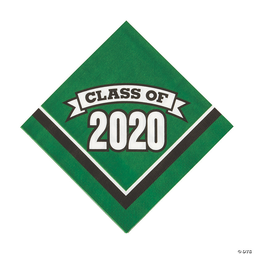 2020 Graduation Party Supplies.Green Class Of 2020 Luncheon Napkins