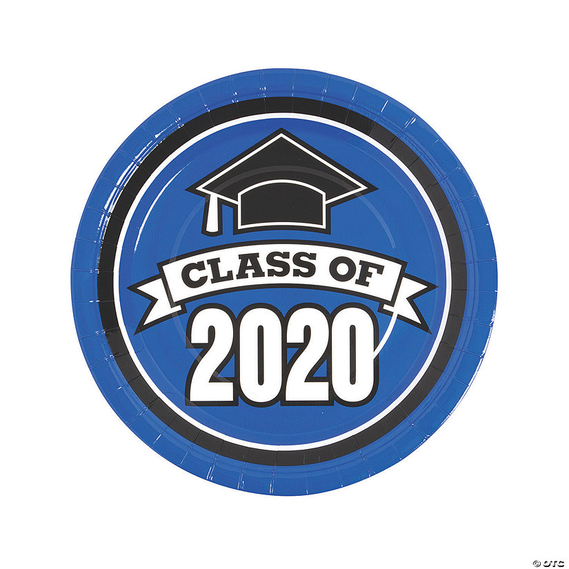 Oriental Trading Graduation 2020.Blue Class Of 2020 Paper Dinner Plates