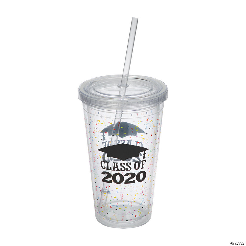 Oriental Trading Graduation 2020.Class Of 2020 Graduation Plastic Tumbler With Straw