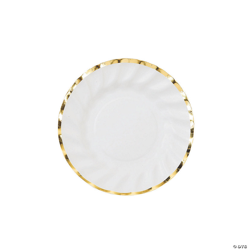 Talking Tables Gold Trim Scalloped Paper Dessert Plates