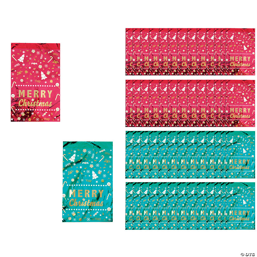 Christmas Cellophane Bags.Metallic Merry Christmas Cellophane Bags