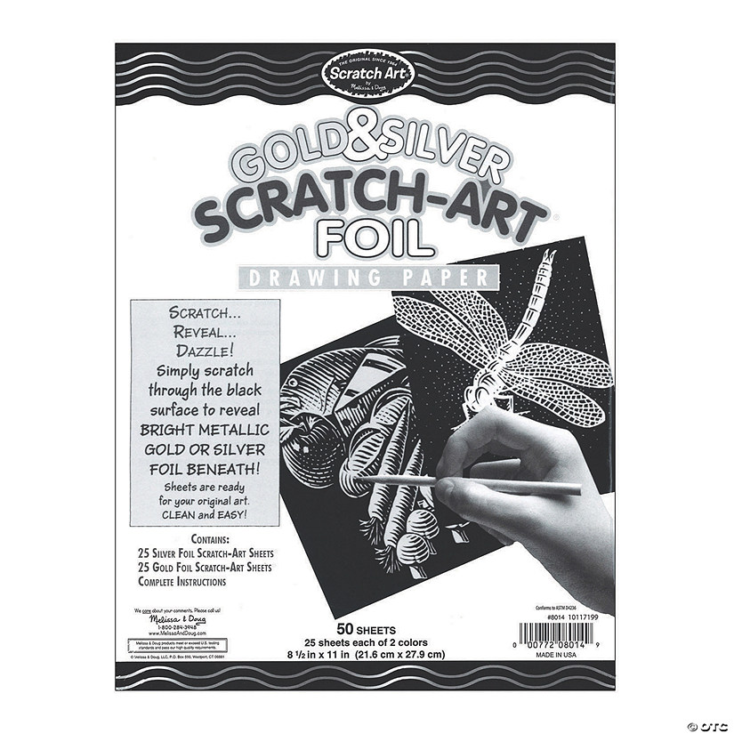 Melissa /& Doug Scratch Art Paper Activity Kit 10 Sheets of Gold and Silver