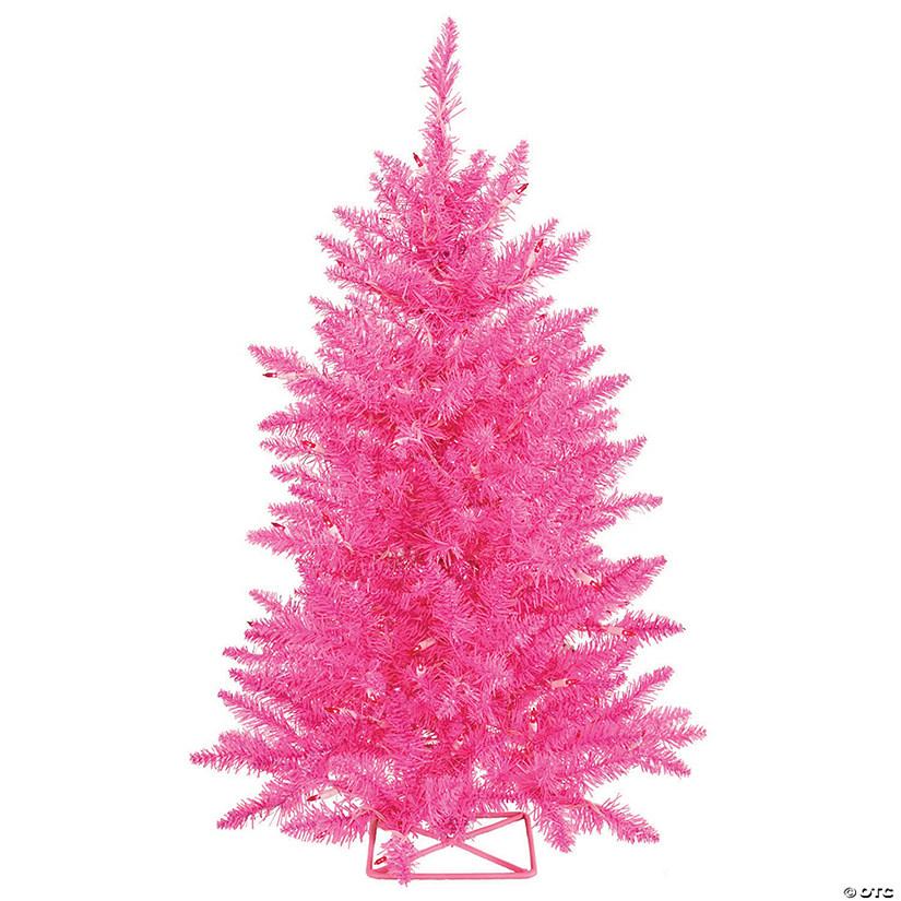 Pink Christmas Lights.Vickerman 3 Hot Pink Christmas Tree With Pink Led Lights