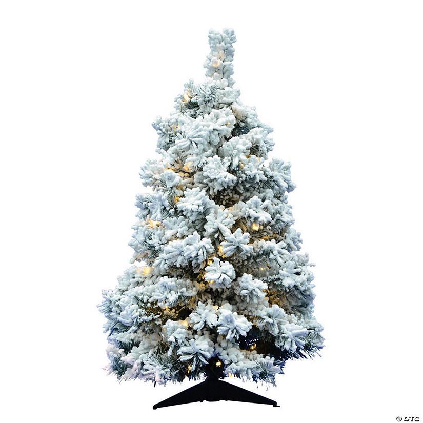 Vickerman 36 Flocked Alaskan Pine Christmas Tree With Warm White Led Lights