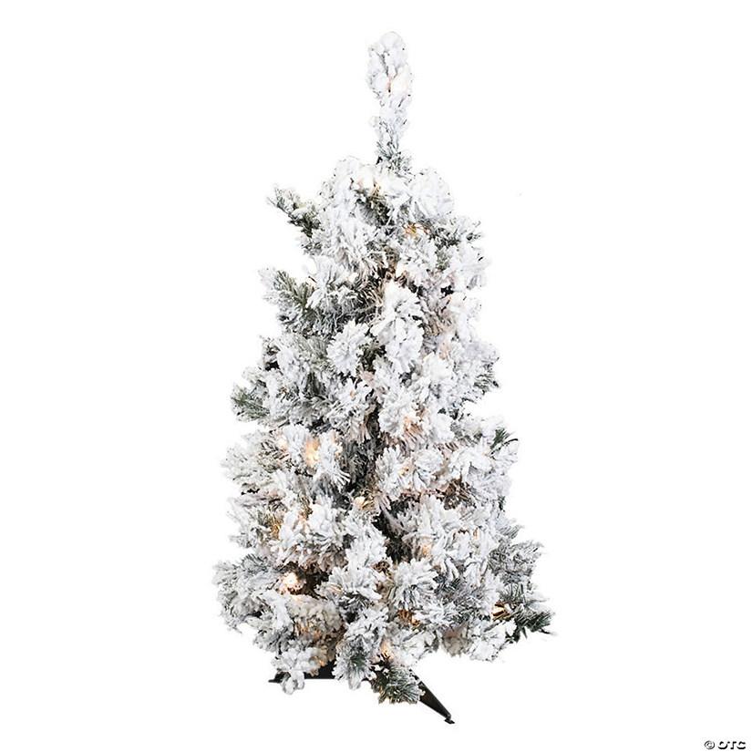 White Christmas Tree With Lights.Vickerman 36 Flocked Alaskan Pine Christmas Tree With Clear Lights