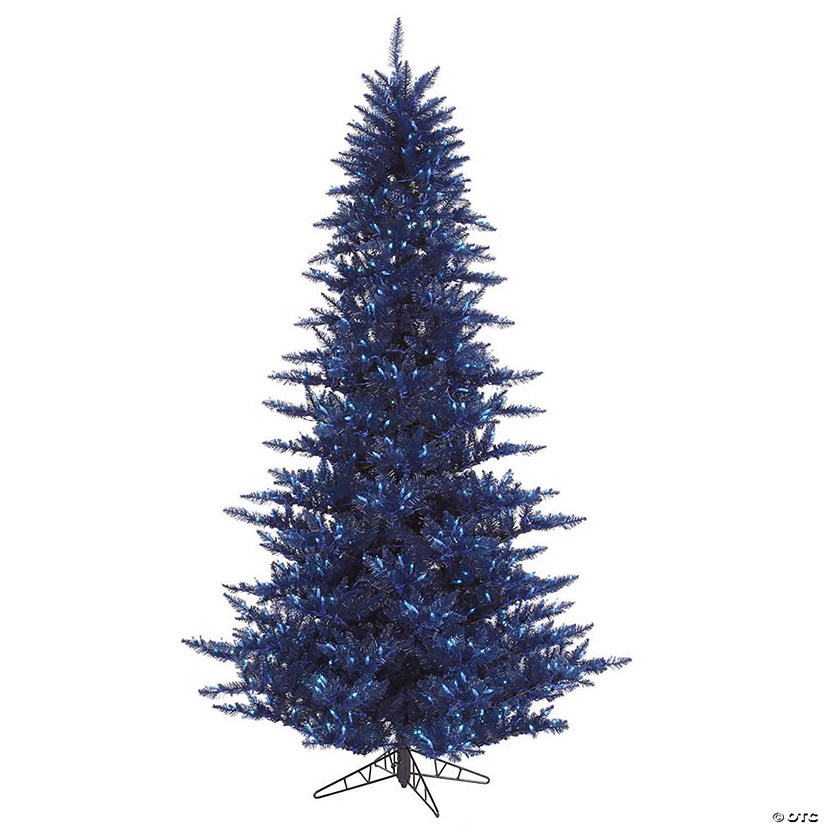 White Christmas Tree With Blue Lights.Vickerman 3 Navy Blue Fir Christmas Tree With Blue Lights